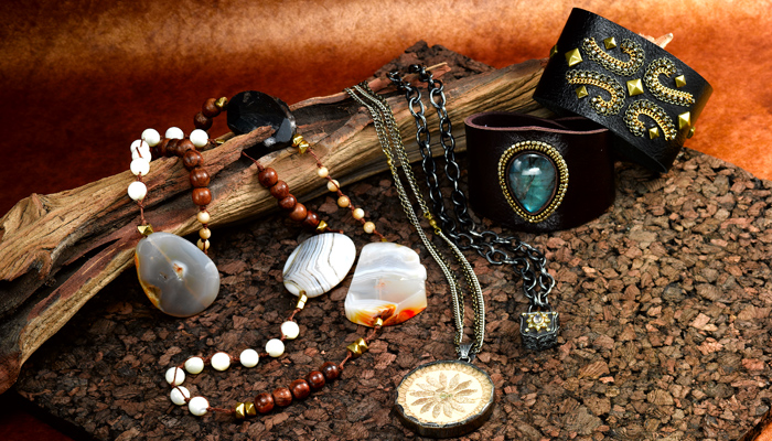 Agate, wood, leather designer collection