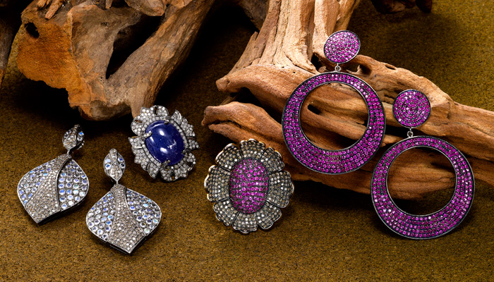 Pink and blue sapphire, moonstone and diamond collection.