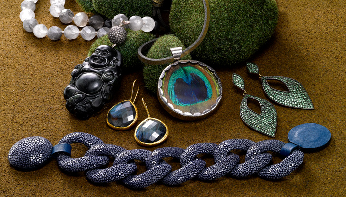 Jewelry trends in the shades of the season: designs in Labradorite, Shagreen and Tsavorite.  One of a kind Buddha necklace, Peacock feather pendant by Presh, Pave Tsavorite earrings, Labradorite drop earrings by Coralia Leets, Shagreen link bracelet with a magnetic clasp.